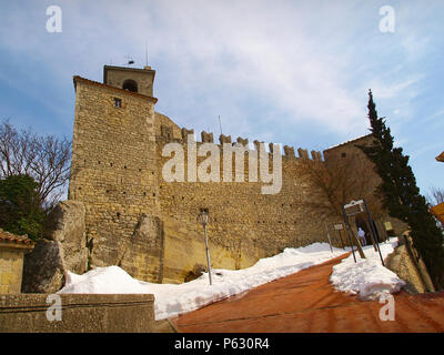Fortress and tower of Guaita La Rocca in San Marino - Stock Photo