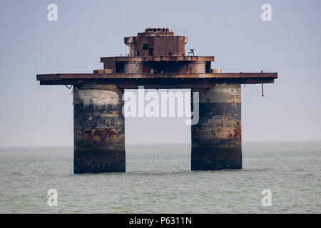 Knock John Fort,The Maunsell naval forts were built in the Thames estuary and operated by the Royal Navy, to deter and report German air raids - Stock Photo