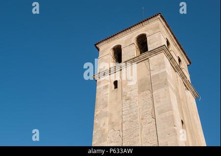 The tower of the cathedral in the city of Pula, Istria County, Croatia - Stock Photo