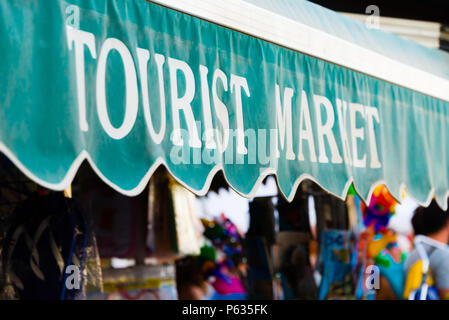 Part of a tourist shop's tent. Concept of buying suvenir in the period of tourism during the summer holidays in august september - Stock Photo