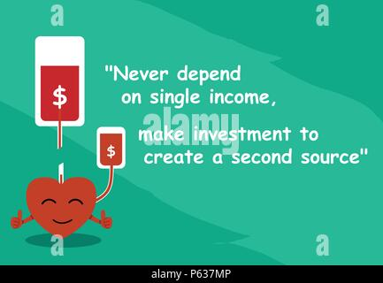'Never depend on single income, make investment to create a second source' with graphic art - Stock Photo