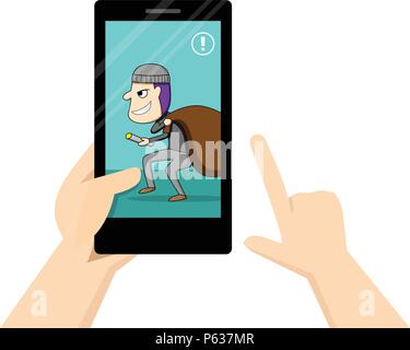 Man look at smartphone that show theif in his home, vector art - Stock Photo