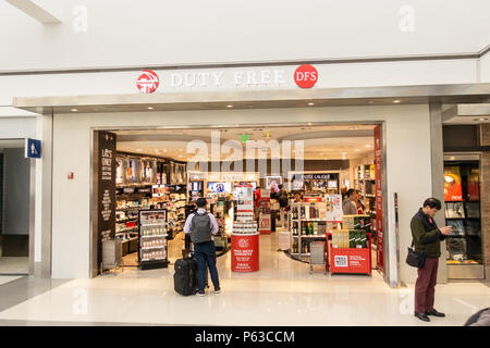 Duty Free store at the terminal 7 of the Los Angeles international airport LAX DFS - Stock Photo