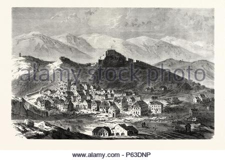 FRANCO-PRUSSIAN WAR: THE CITY AND THE FORTRESS OF BELFORT, FEBRUARY 18. - Stock Photo