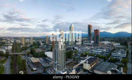 Aerial panoramic view of Residential Buildings and Construction Sites around Brentwood Mall. Taken in Burnaby, Greater Vancouver, BC, Canada. - Stock Photo