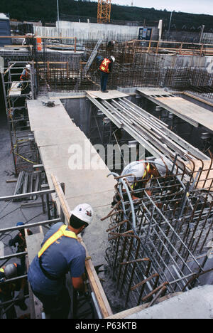 Fixing formwork for concreting Calgary Wastwater treatment plant Alberta, Canada - Stock Photo