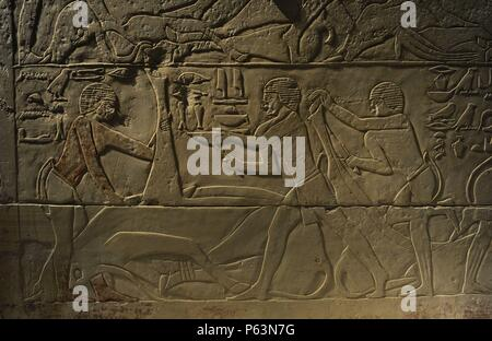 Tomb relief depicting a butchering scene. Limestone. Old Kingdom. 5th Dynasty. 2350 BC. Neues Museum. Berlin. Germany. - Stock Photo
