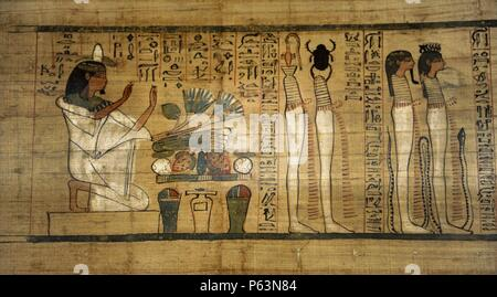 Worship of Ra in the west, Litany of Ra. Papyrus. Third Intermediate Period. 21st Dynasty. 1075-946 BC. Thebes, Egypt. Neues Museum. Berlin. Germany. - Stock Photo