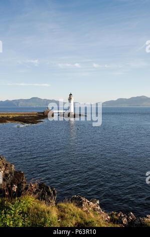 Beautiful Rubha nan Gall Lighthouse near Tobermory on the Isle of Mull in Scotland - Stock Photo