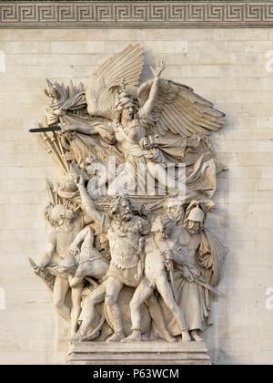 Bas relief stone Sculpture of `le depart` by antoine etex, detail of Arc de Triomphe, Paris - Stock Photo