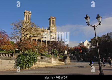 Saint Vincent de Paul church, in a neo classical style on square aristide cavaille-col, on a sunny day , wide angle view, Paris, France - Stock Photo