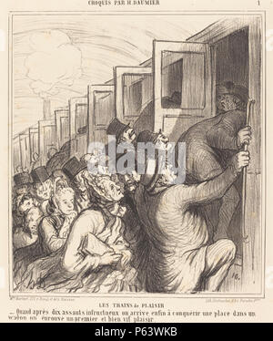 1864 trains 200. Honoré Daumier (French, 1808 - 1879 ), Les Trains de plaisir, 1864, lithograph, Rosenwald - Stock Photo