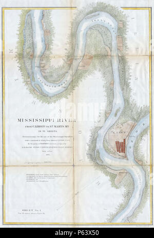 1865 U.S.C.S. Chart or Map of the Mississippi River around Cairo Illinois - Geographicus - RivMiss1Col-USCS-1865. - Stock Photo