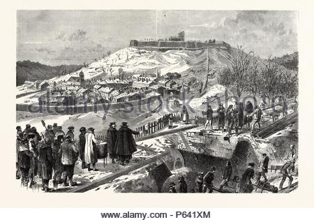 FRANCO-PRUSSIAN WAR: THE CITY AND THE FORTRESS MONTMEDY, DECEMBER 15 1870. - Stock Photo