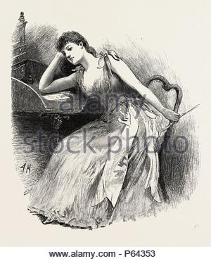 LITERARY EFFORTS, engraving 1890. - Stock Photo