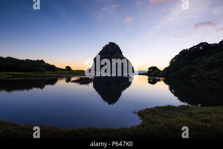 Lion Rock Piha West Coast Auckland New Zealand Dusk Sunset - Stock Photo