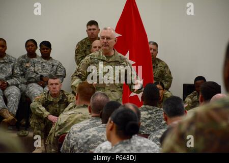 NORTH FORT HOOD, Texas-- First Army commanding general, Lt. Gen. Michael S. Tucker, met with Soldiers of First Army Division West's 120th Infantry Brigade during a town hall here, Apr. 20, to discuss the current state of First Army and the way ahead. - Stock Photo