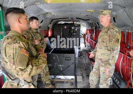 NORTH FORT HOOD, Texas-- First Army commanding general, Lt. Gen. Michael S. Tucker, spoke with Soldiers assigned to the  United States Army Reserves 5th Battalion, 159th Aviation Regiment here, Apr. 20, to discuss their training in preparation for an upcoming deployment. - Stock Photo