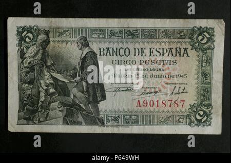DINERO: BILLETE DE CINCO PESETAS DE 1954  ANVERSO: IMAGEN DE