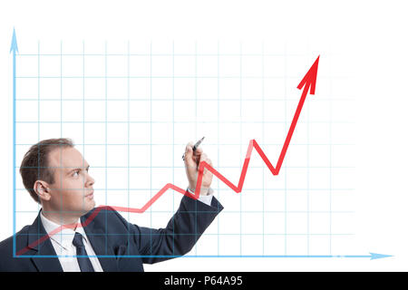 businessman drawing chart isolated - Stock Photo