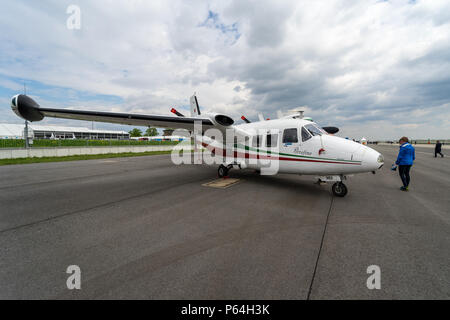 BERLIN, GERMANY - APRIL 25, 2018: Civil utility aircraft Piaggio P.166C. Exhibition ILA Berlin Air Show 2018. - Stock Photo