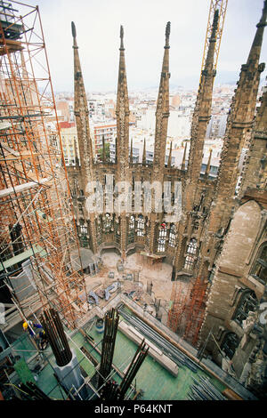 Construction of hollow stone columns with reinforcement for concrete. Sagrada Familia Cathedral. Designed by Antoni Gaudi. Barcelona, Catalunya, Spain - Stock Photo