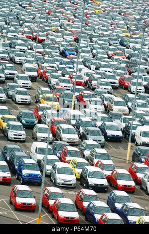 New Suzuki cars and vans parked at Avonmouth docks near Bristol, UK