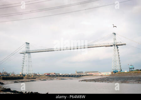 The Newport Transporter Bridge is a crossing of the River Usk in the city of Newport, South Wales, United Kingdom. It is a Grade I listed structure. D - Stock Photo