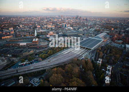 Kings Cross St Pancras stations, London, UK, aerial view - Stock Photo