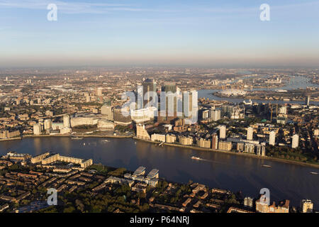Aerial view of Canary Wharf, Docklands, London, UK. River Thames in foreground - Stock Photo