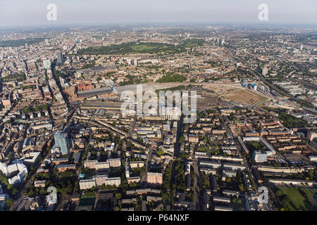 St Pancras Station and Regents Park, London, England, UK, aerial view - Stock Photo