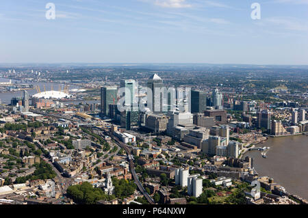 Aerial view of Canary Wharf, Docklands, London, UK. Also known as Isle of Dogs. Millennium Dome and Thames Barrier in - Stock Photo
