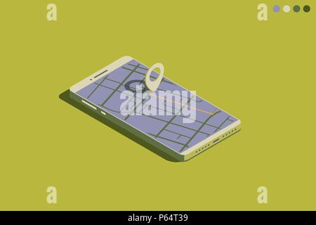 Mobile isometric phone with GPS - Stock Photo