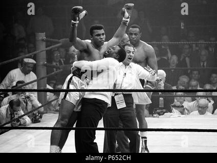 Muhammad Ali (born Cassius Clay, Jr.; January 17, 1942) American former professional boxer, considered among the greatest heavyweights in the sport's history. May 25, 1965, heavyweight champion Muhammad Ali   after his rematch with boxer Sonny Liston. Ali knocked out Liston in the first round - Stock Photo
