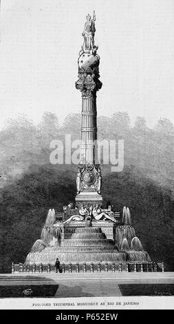 Engraving of a proposed triumphal monument at Rio de Janeiro, Brazil. Dated 1870 - Stock Photo