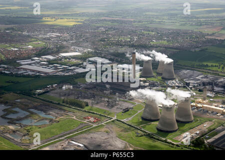 Aerial view south-east of Power Station in Didcot, Oxfordshire, UK - Stock Photo