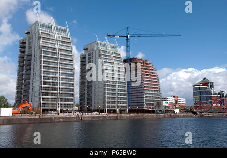 Residential property development under construction, Manchester - Stock Photo