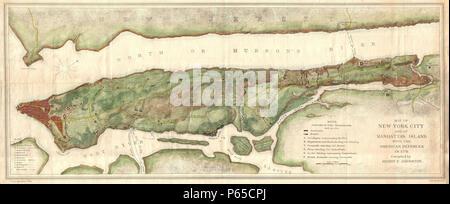 1878 Bien and Johnson Map of New York City (Manhattan Island) During the Revolutionary War - Geographicus - NewYorkCity-johnsonbien-1878. - Stock Photo