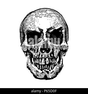Skull image in grunge. Vector art. Street style. Symbol of death. Monochrome style. Isolated on white background. Particle divergent composition. Vector Illustration. - Stock Photo