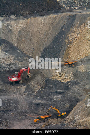 Plant machinery working on brownfield site, UK, aerial view - Stock Photo