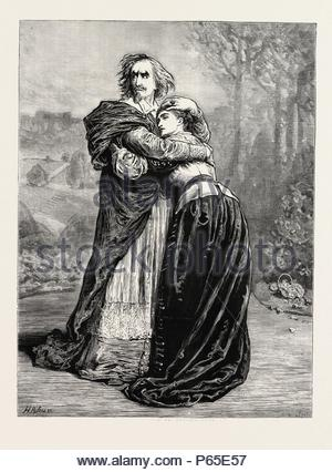 MR. IRVING AND MISS ISABEL BATEMAN IN RICHELIEU AT THE LYCEUM THEATRE, LONDON, UK, 1873 engraving. - Stock Photo