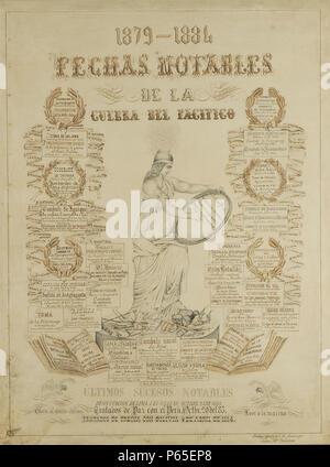 1879-1884 Fechas notables de la Guerra del Pacifico. - Stock Photo