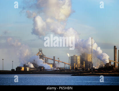 Emissions from a Corus steel plant at Redcar on Teeside, UK. - Stock Photo