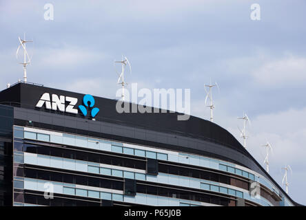 Vertical axis wind turbines on the rooftop of the ANZ bank in Melbourne, Australia. - Stock Photo