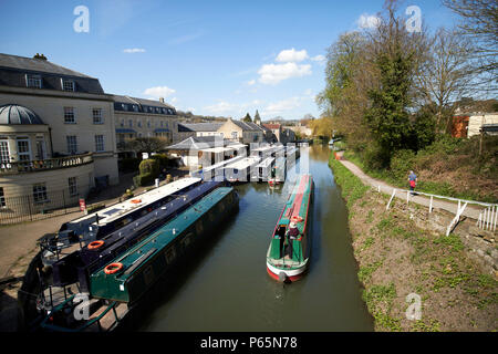 bath narrowboats at sydney wharf on the Kennet and Avon Canal Bath England UK - Stock Photo