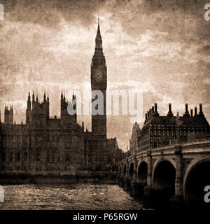 Big Ben and Westminster in Sepia Tones, London, UK - Stock Photo