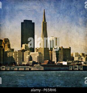 The Transamerica Pyramid, San Francisco, California, USA (painterly) - Stock Photo