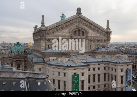 Rooftop view of the Palais Garnier Opera House in Paris France - Stock Photo