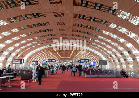 Terminal 2 at Paris Charles de Gaulle Airport in France - Stock Photo