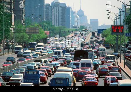 Traffic jam in Beijing, China - Stock Photo